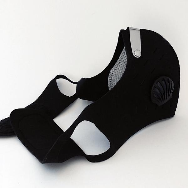 Neopren Mund-Nasen-Maske, 2 Ventile, Aktivkohle Filter, Metallbügel