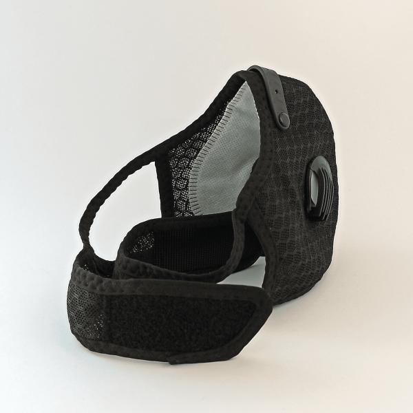 Schwarze Mesh Maske mit 2 Ventilen, Aktivkohle-Filter, Klettverschluss + Ohrschlaufen