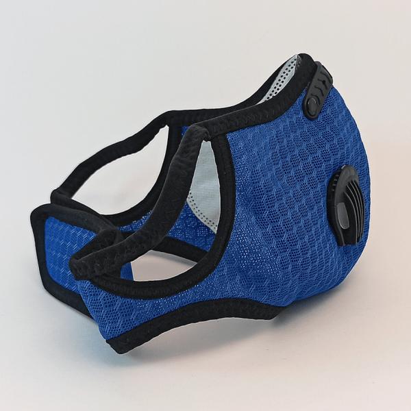 Blaue Mesh Maske mit 2 Ventilen, Aktivkohle-Filter, Klettverschluss + Ohrschlaufen