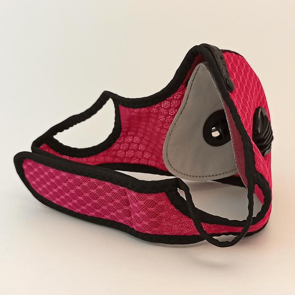 Pink Mesh Maske mit 2 Ventilen, Aktivkohle-Filter, Klettverschluss + Ohrschlaufen