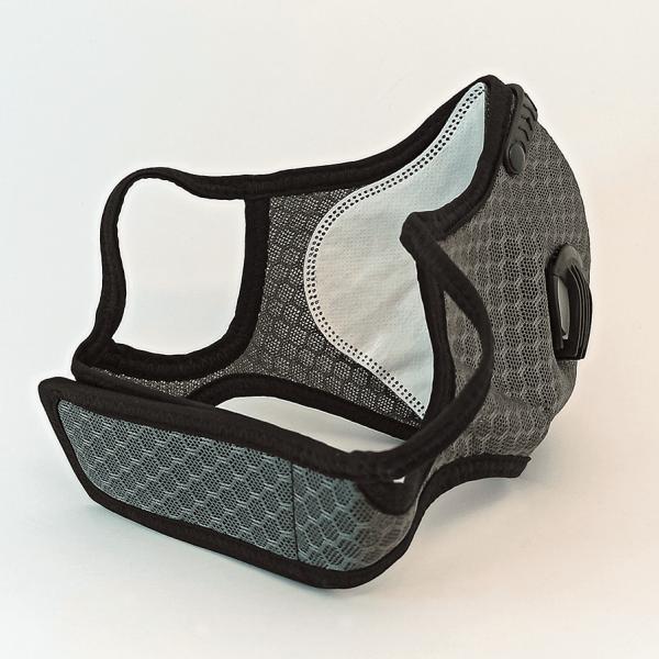 Graue Mesh Maske mit 2 Ventilen, Aktivkohle-Filter, Klettverschluss + Ohrschlaufen